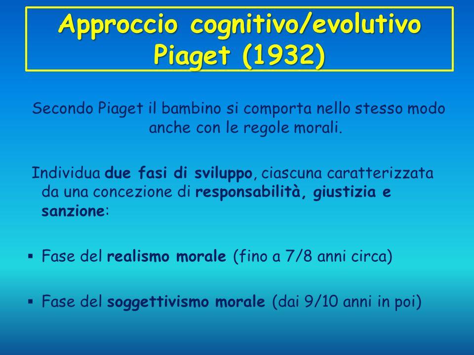 Approccio cognitivo/evolutivo Piaget (1932) Secondo Piaget il bambino si comporta nello stesso modo anche con le regole morali. Individua due fasi di