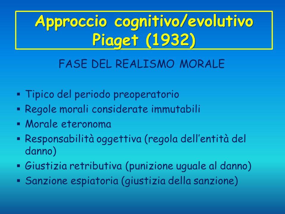 Approccio cognitivo/evolutivo Piaget (1932) FASE DEL REALISMO MORALE Tipico del periodo preoperatorio Regole morali considerate immutabili Morale eter