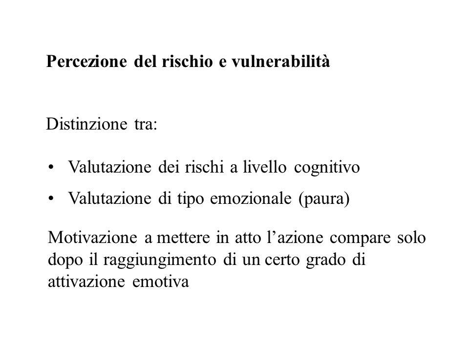 Percezione del rischio e vulnerabilità Distinzione tra: Valutazione dei rischi a livello cognitivo Valutazione di tipo emozionale (paura) Motivazione
