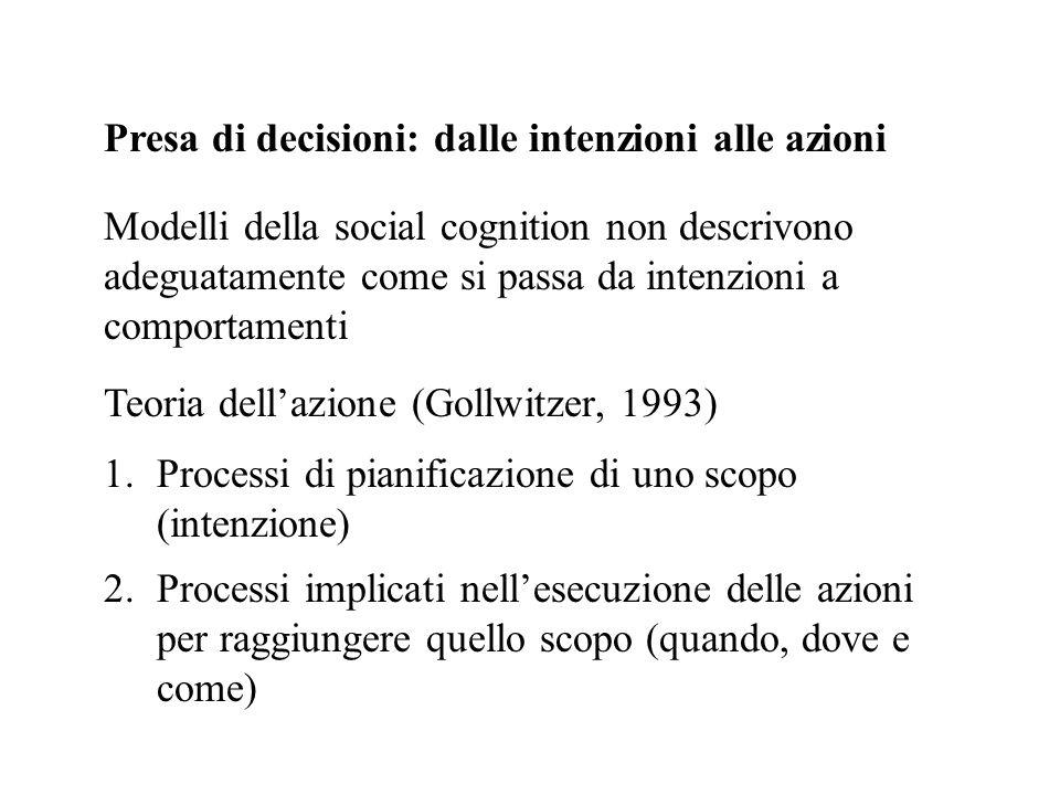 Presa di decisioni: dalle intenzioni alle azioni Modelli della social cognition non descrivono adeguatamente come si passa da intenzioni a comportamen