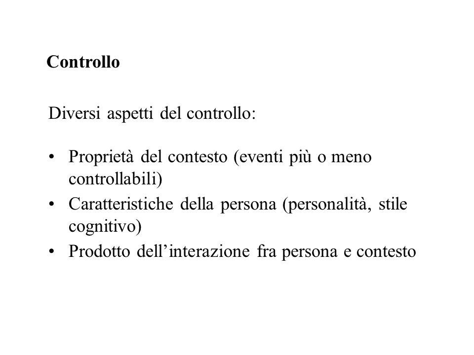 Controllo Diversi aspetti del controllo: Proprietà del contesto (eventi più o meno controllabili) Caratteristiche della persona (personalità, stile co