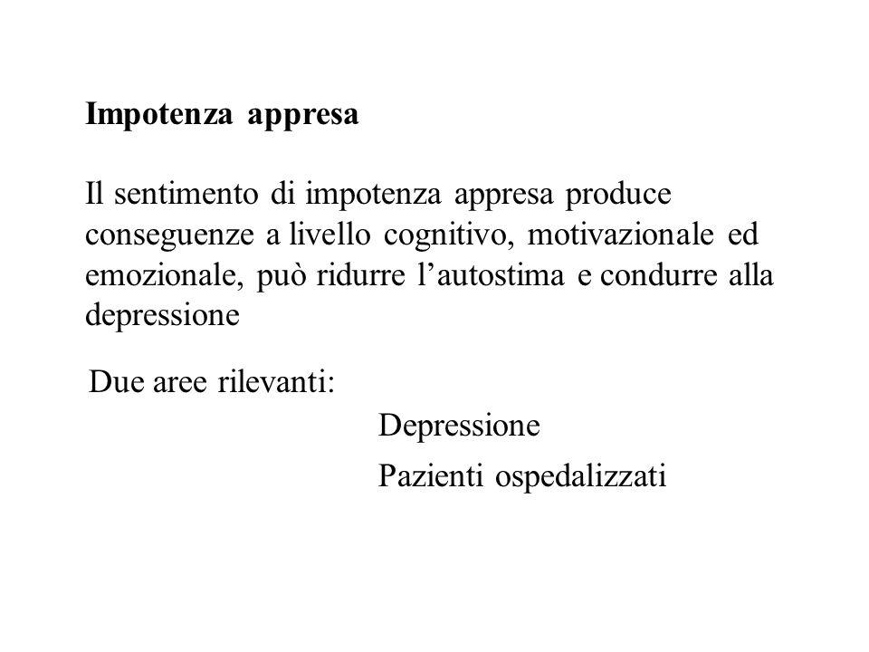 Impotenza appresa Il sentimento di impotenza appresa produce conseguenze a livello cognitivo, motivazionale ed emozionale, può ridurre lautostima e co