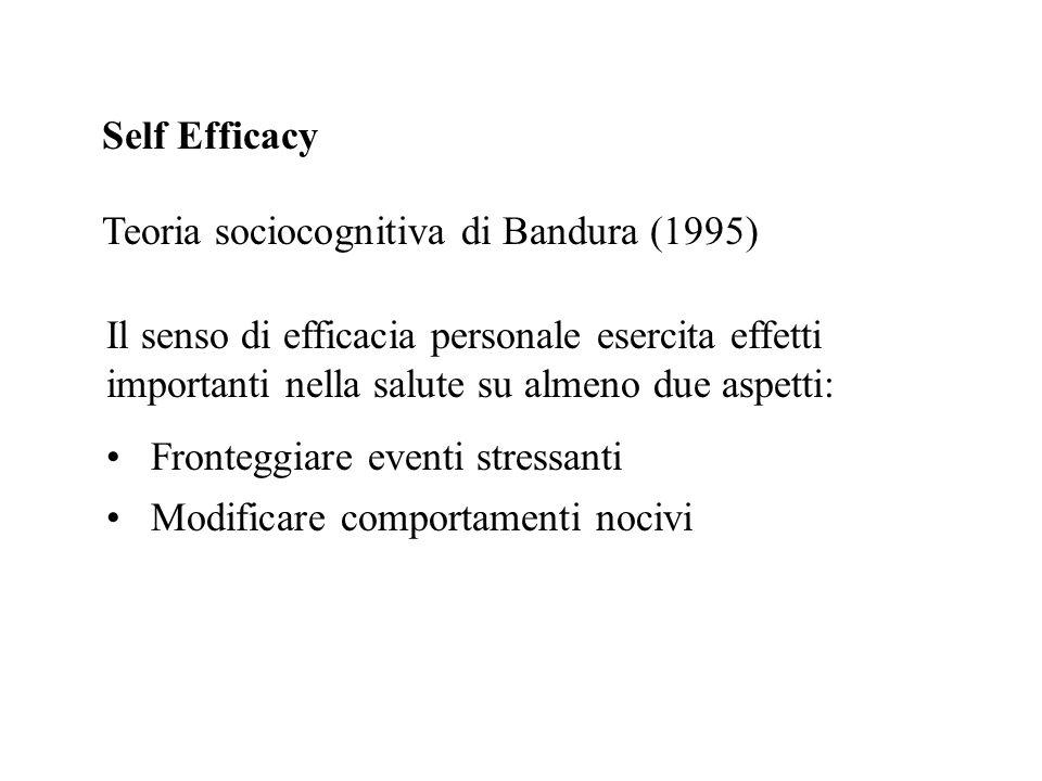 Self Efficacy Teoria sociocognitiva di Bandura (1995) Il senso di efficacia personale esercita effetti importanti nella salute su almeno due aspetti: