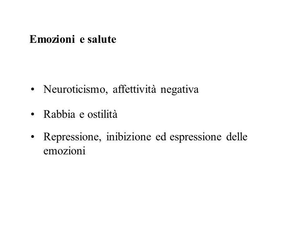 Emozioni e salute Rabbia e ostilità Neuroticismo, affettività negativa Repressione, inibizione ed espressione delle emozioni