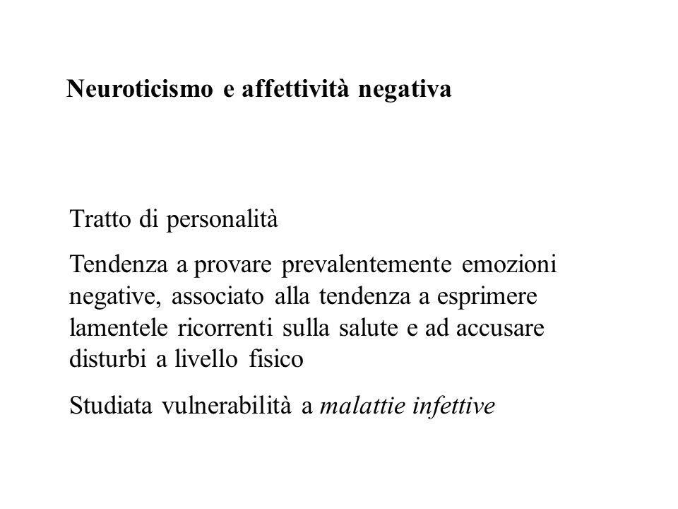 Neuroticismo e affettività negativa Tratto di personalità Tendenza a provare prevalentemente emozioni negative, associato alla tendenza a esprimere la