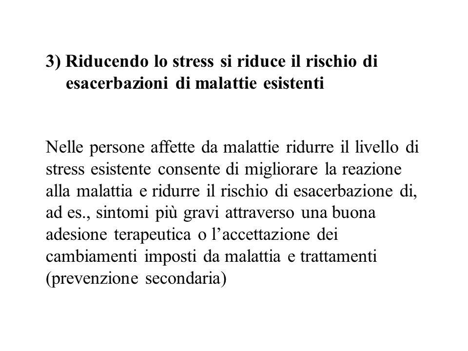 3) Riducendo lo stress si riduce il rischio di esacerbazioni di malattie esistenti Nelle persone affette da malattie ridurre il livello di stress esis