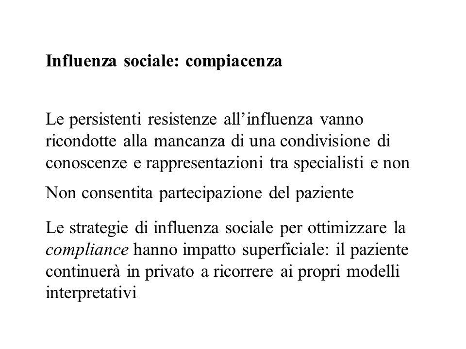 Influenza sociale: compiacenza Non consentita partecipazione del paziente Le strategie di influenza sociale per ottimizzare la compliance hanno impatt