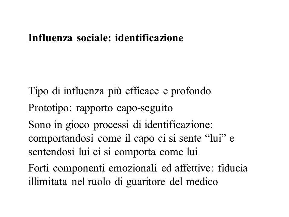Influenza sociale: identificazione Tipo di influenza più efficace e profondo Prototipo: rapporto capo-seguito Sono in gioco processi di identificazion