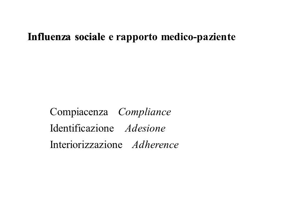 Influenza sociale e rapporto medico-pazienteInfluenza sociale Compiacenza Identificazione Interiorizzazione Compliance Adesione Adherence