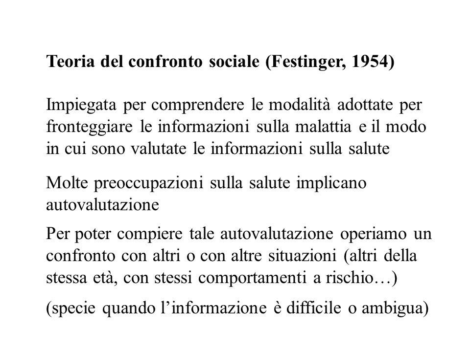 Teoria del confronto sociale (Festinger, 1954) Impiegata per comprendere le modalità adottate per fronteggiare le informazioni sulla malattia e il mod