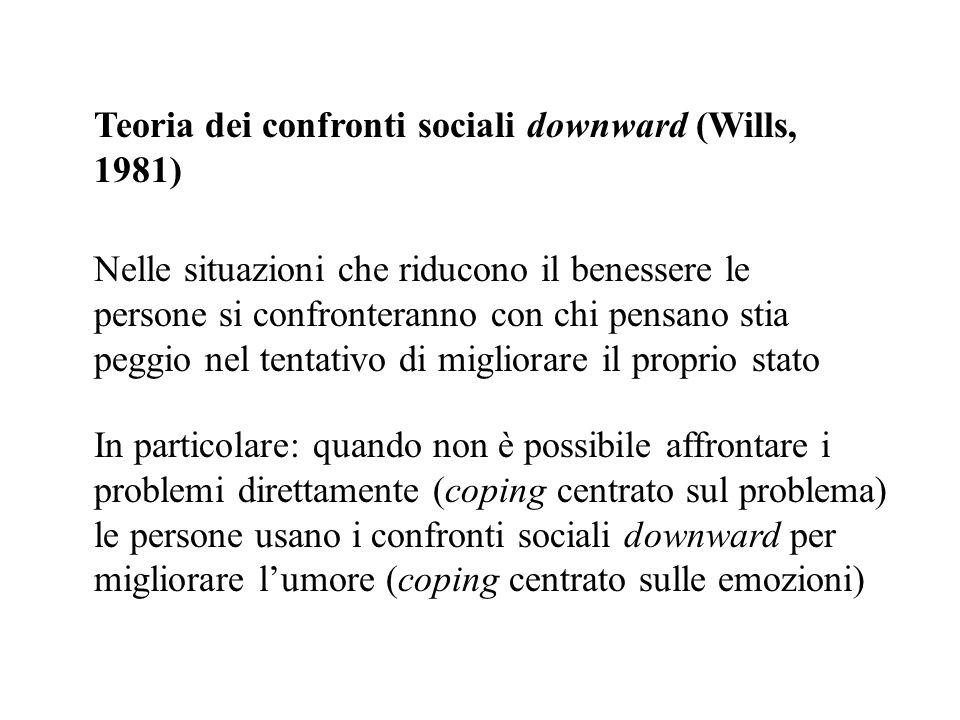 Teoria dei confronti sociali downward (Wills, 1981) Nelle situazioni che riducono il benessere le persone si confronteranno con chi pensano stia peggi