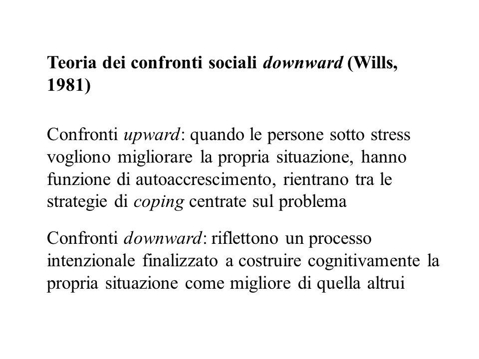 Teoria dei confronti sociali downward (Wills, 1981) Confronti upward: quando le persone sotto stress vogliono migliorare la propria situazione, hanno