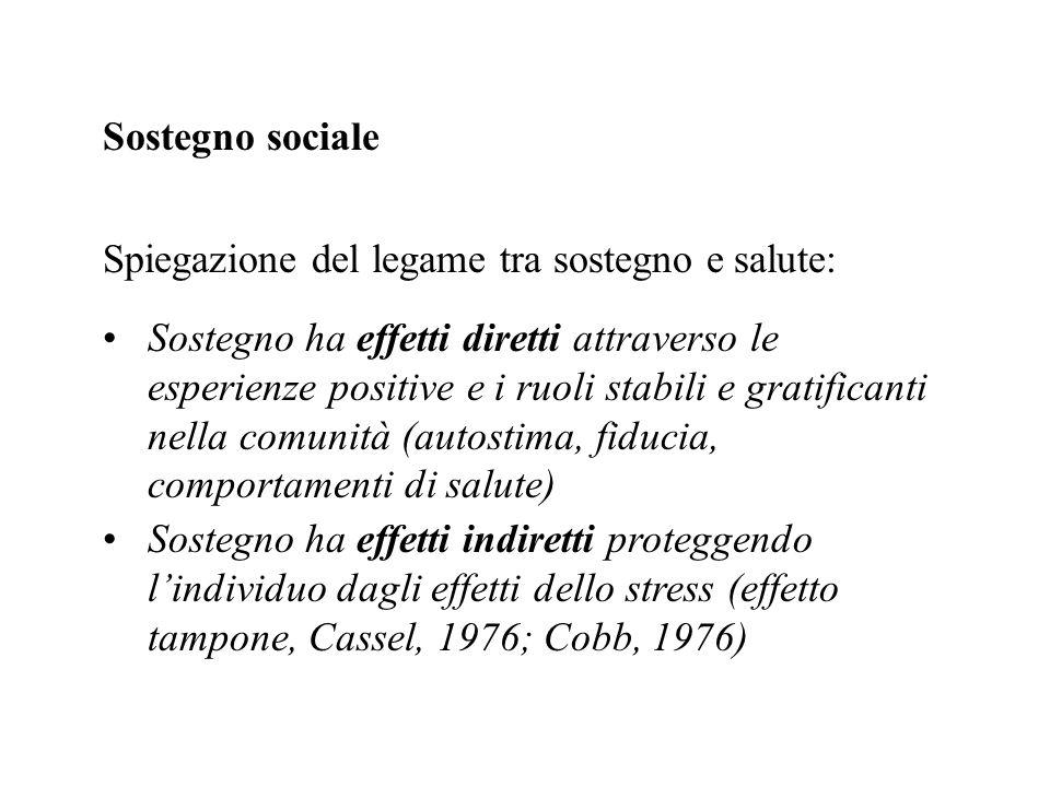 Sostegno sociale Spiegazione del legame tra sostegno e salute: Sostegno ha effetti diretti attraverso le esperienze positive e i ruoli stabili e grati