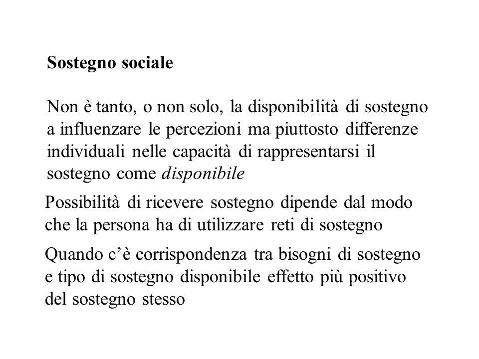 Sostegno sociale Non è tanto, o non solo, la disponibilità di sostegno a influenzare le percezioni ma piuttosto differenze individuali nelle capacità