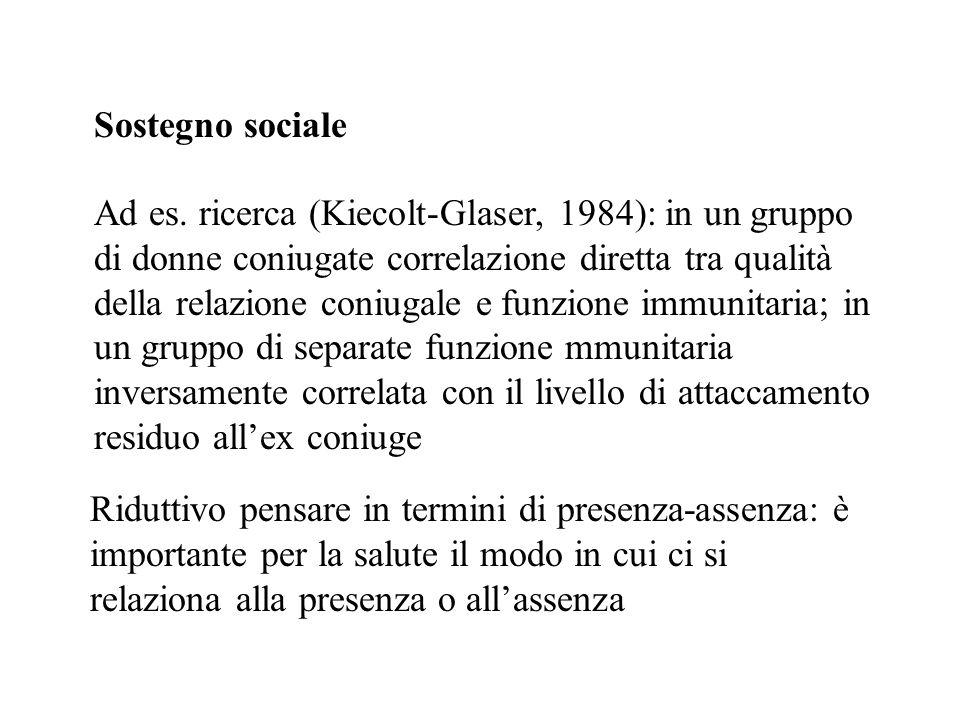 Sostegno sociale Ad es. ricerca (Kiecolt-Glaser, 1984): in un gruppo di donne coniugate correlazione diretta tra qualità della relazione coniugale e f