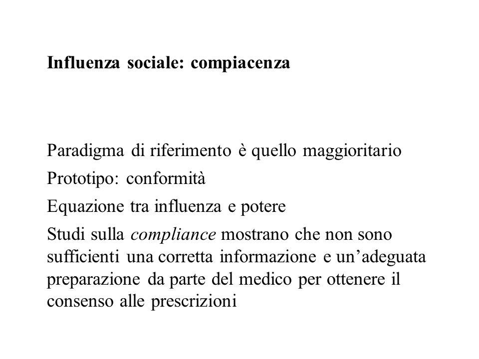 Influenza sociale: compiacenza Paradigma di riferimento è quello maggioritario Prototipo: conformità Equazione tra influenza e potere Studi sulla comp