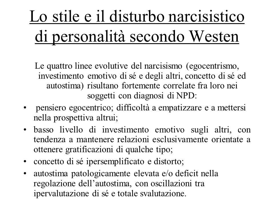 Lo stile e il disturbo narcisistico di personalità secondo Westen Le quattro linee evolutive del narcisismo (egocentrismo, investimento emotivo di sé