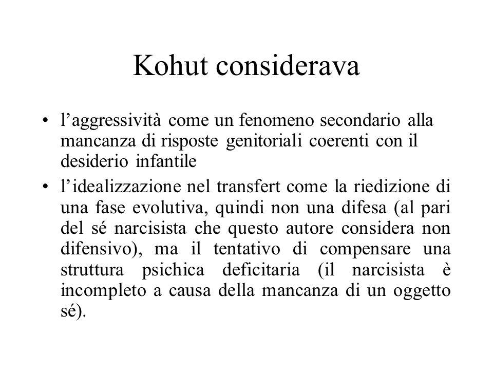 Kohut considerava laggressività come un fenomeno secondario alla mancanza di risposte genitoriali coerenti con il desiderio infantile lidealizzazione