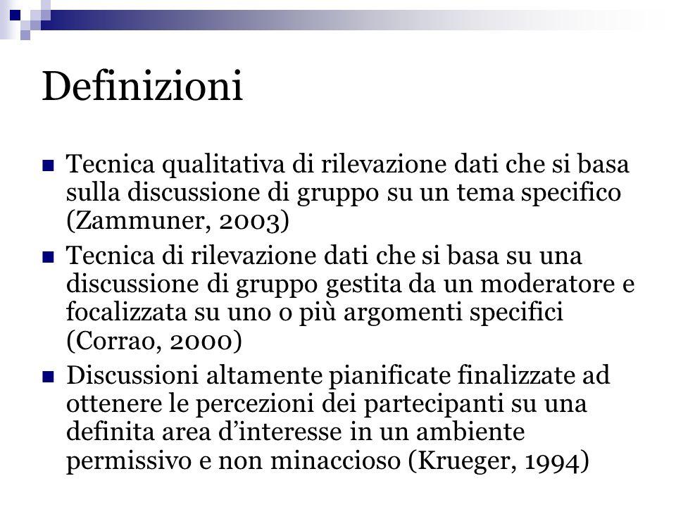 Definizioni Tecnica qualitativa di rilevazione dati che si basa sulla discussione di gruppo su un tema specifico (Zammuner, 2003) Tecnica di rilevazio