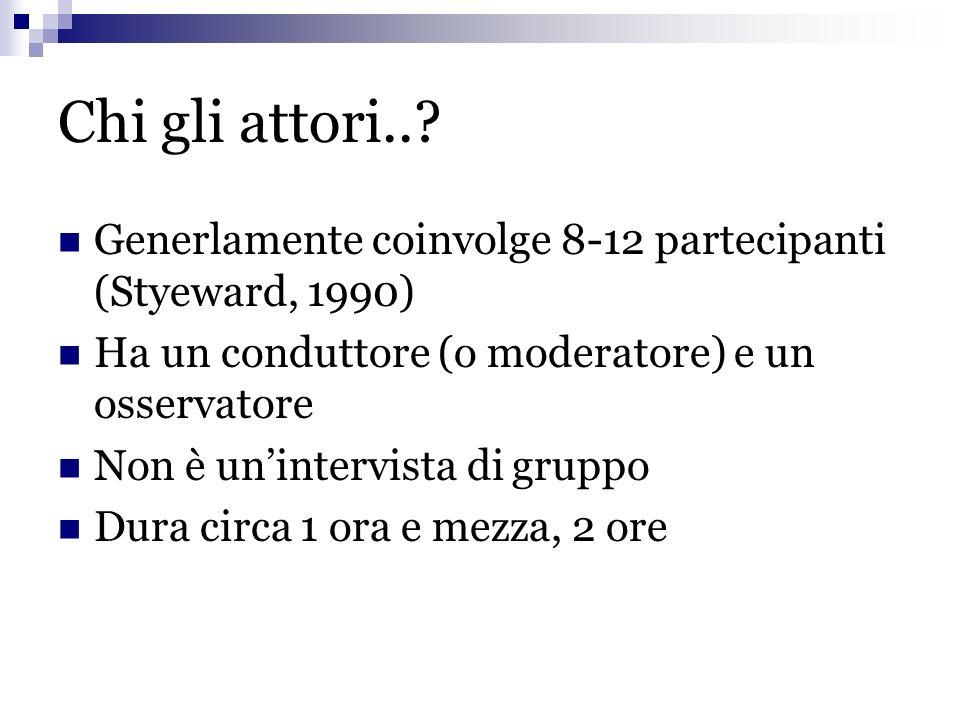 Chi gli attori..? Generlamente coinvolge 8-12 partecipanti (Styeward, 1990) Ha un conduttore (o moderatore) e un osservatore Non è unintervista di gru