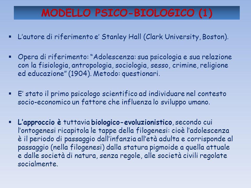 MODELLO PSICO-BIOLOGICO (1) Lautore di riferimento e Stanley Hall (Clark University, Boston). Opera di riferimento: Adolescenza: sua psicologia e sua