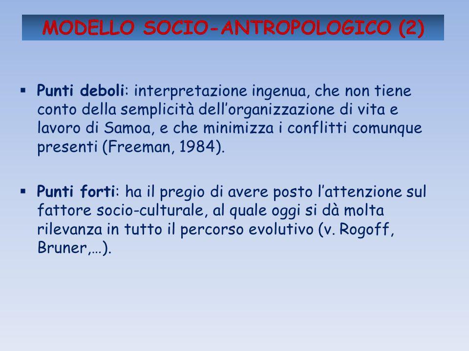 MODELLO SOCIO-ANTROPOLOGICO (2) Punti deboli: interpretazione ingenua, che non tiene conto della semplicità dellorganizzazione di vita e lavoro di Sam