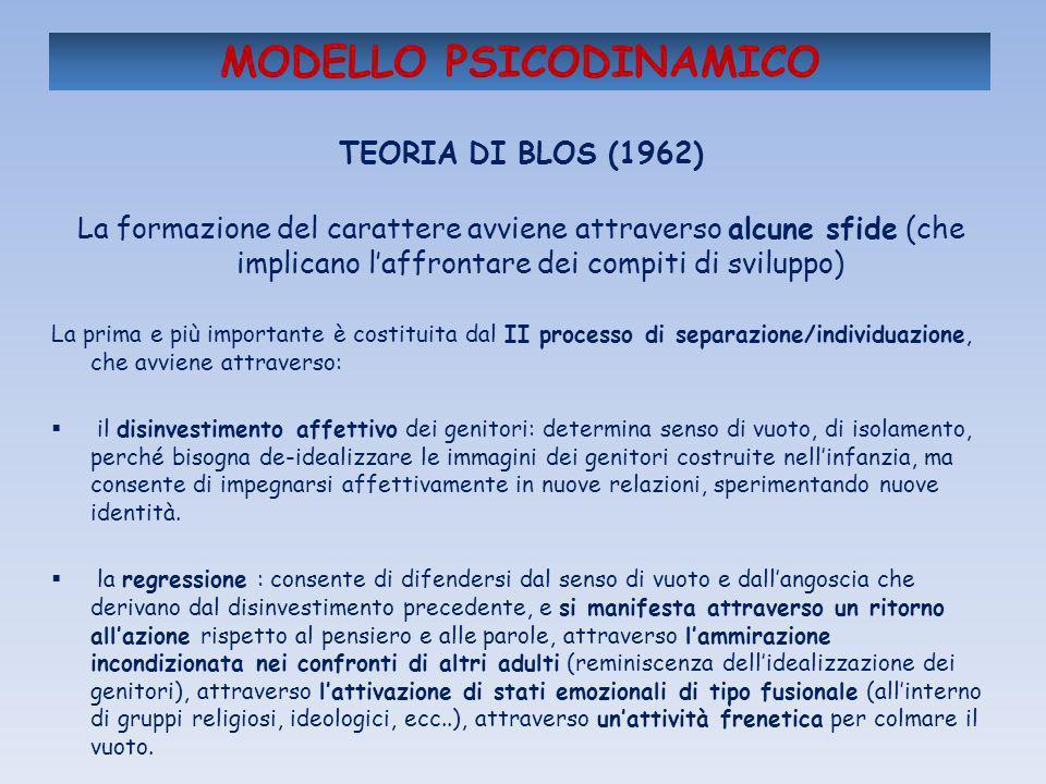 MODELLO PSICODINAMICO TEORIA DI BLOS (1962) La formazione del carattere avviene attraverso alcune sfide (che implicano laffrontare dei compiti di svil