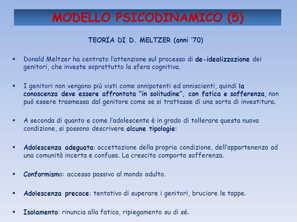 MODELLO PSICODINAMICO (5) TEORIA DI D. MELTZER (anni 70) Donald Meltzer ha centrato lattenzione sul processo di de-idealizzazione dei genitori, che in