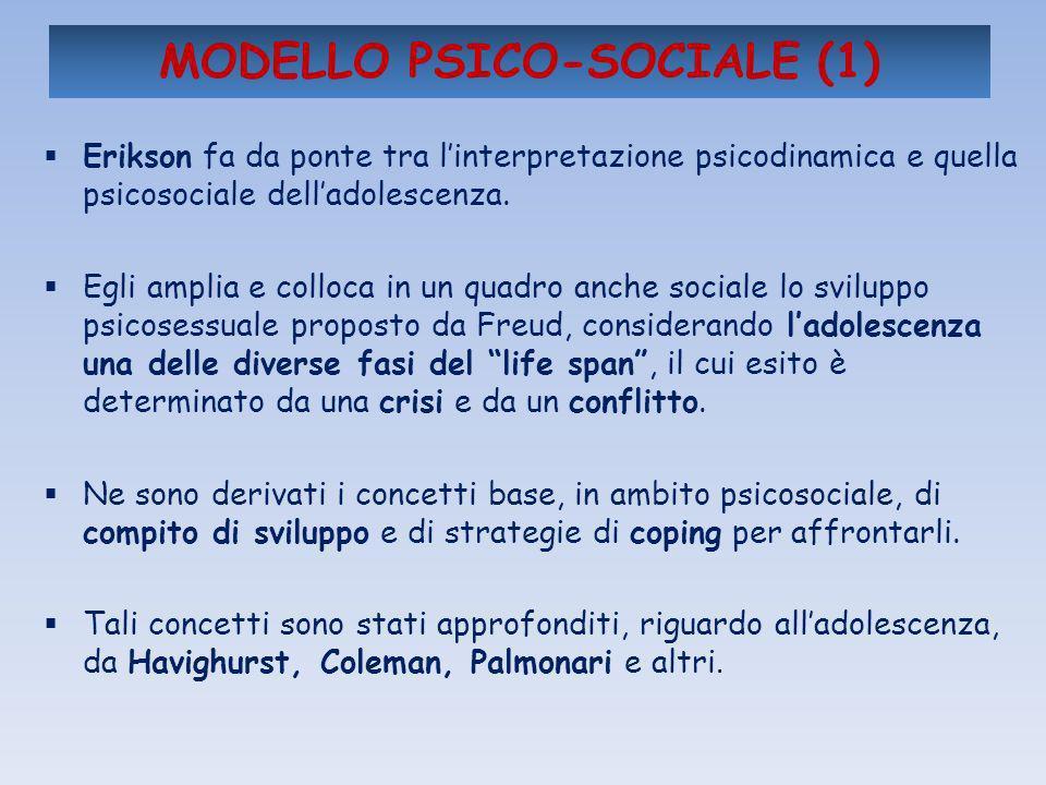 MODELLO PSICO-SOCIALE (1) Erikson fa da ponte tra linterpretazione psicodinamica e quella psicosociale delladolescenza. Egli amplia e colloca in un qu