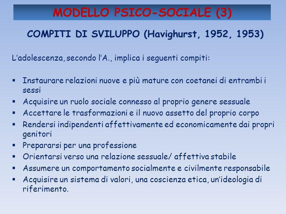 MODELLO PSICO-SOCIALE (3) COMPITI DI SVILUPPO (Havighurst, 1952, 1953) Ladolescenza, secondo lA., implica i seguenti compiti: Instaurare relazioni nuo