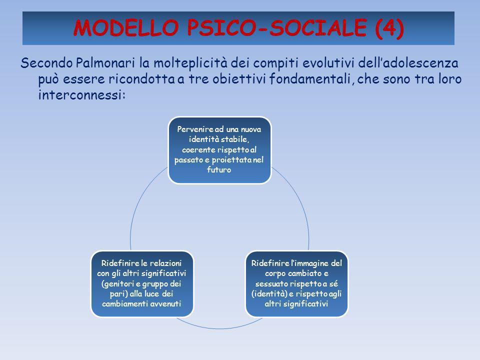 MODELLO PSICO-SOCIALE (4) Secondo Palmonari la molteplicità dei compiti evolutivi delladolescenza può essere ricondotta a tre obiettivi fondamentali,