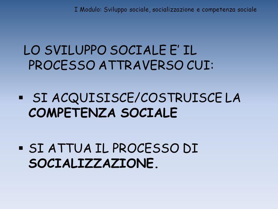 I Modulo: Sviluppo sociale, socializzazione e competenza sociale LO SVILUPPO SOCIALE E IL PROCESSO ATTRAVERSO CUI: SI ACQUISISCE/COSTRUISCE LA COMPETE