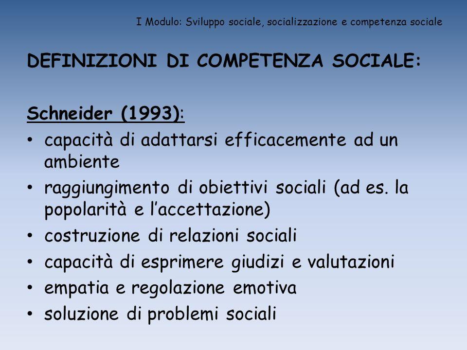 I Modulo: Sviluppo sociale, socializzazione e competenza sociale DEFINIZIONI DI COMPETENZA SOCIALE: Schneider (1993): capacità di adattarsi efficaceme