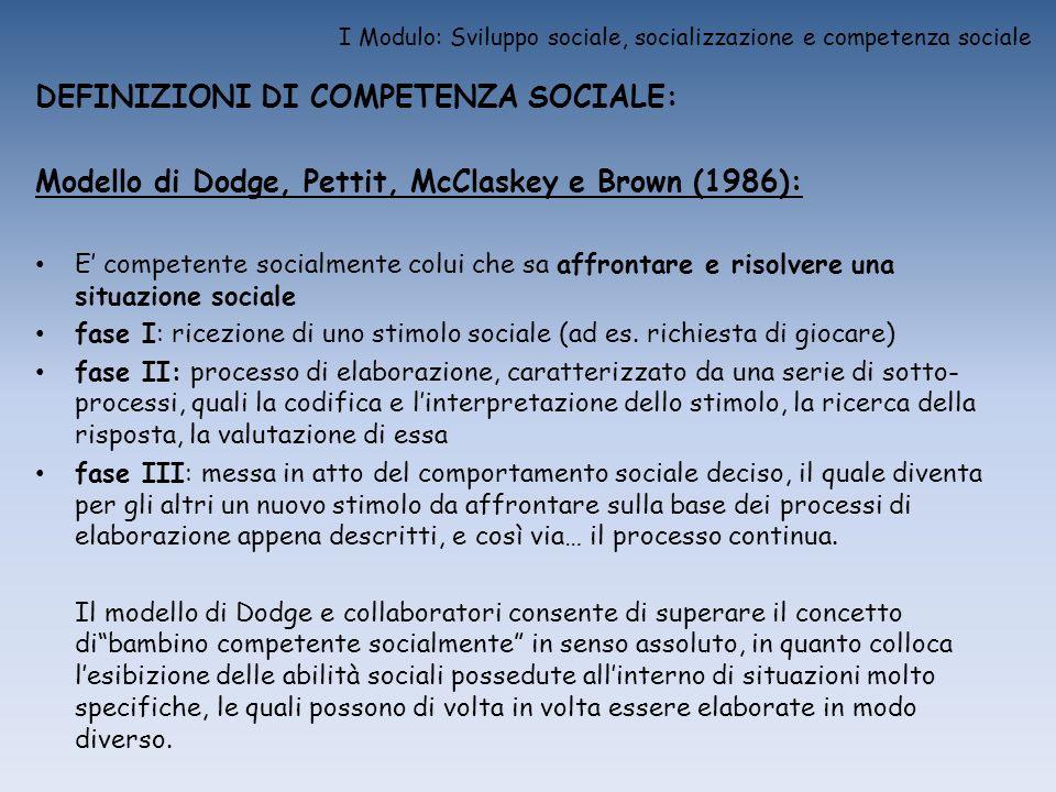 I Modulo: Sviluppo sociale, socializzazione e competenza sociale DEFINIZIONI DI COMPETENZA SOCIALE: Modello di Dodge, Pettit, McClaskey e Brown (1986)