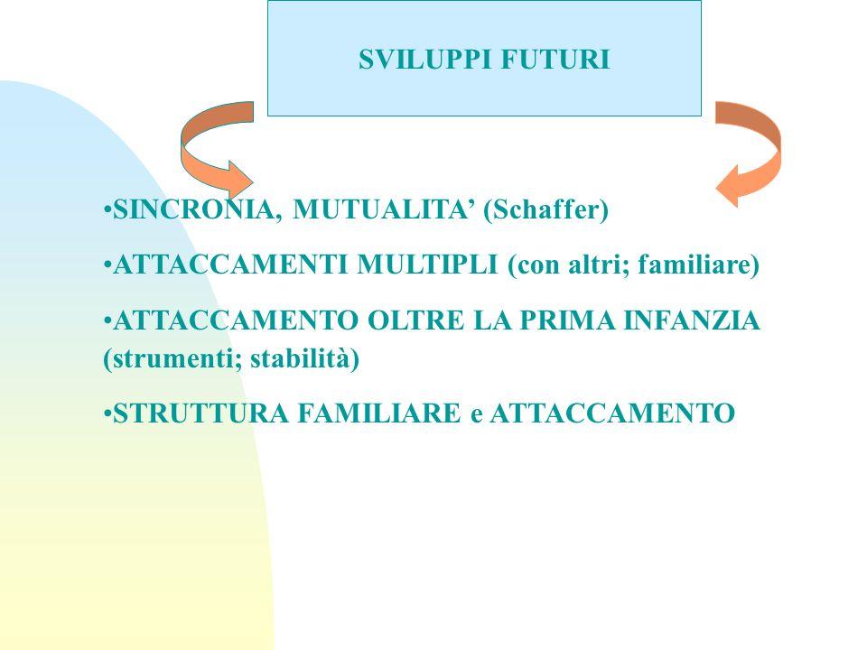 SVILUPPI FUTURI SINCRONIA, MUTUALITA (Schaffer) ATTACCAMENTI MULTIPLI (con altri; familiare) ATTACCAMENTO OLTRE LA PRIMA INFANZIA (strumenti; stabilit