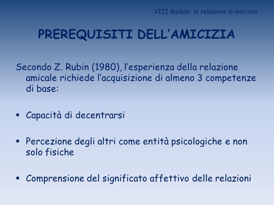 VIII Modulo: la relazione di amicizia PREREQUISITI DELLAMICIZIA Secondo Z. Rubin (1980), lesperienza della relazione amicale richiede lacquisizione di