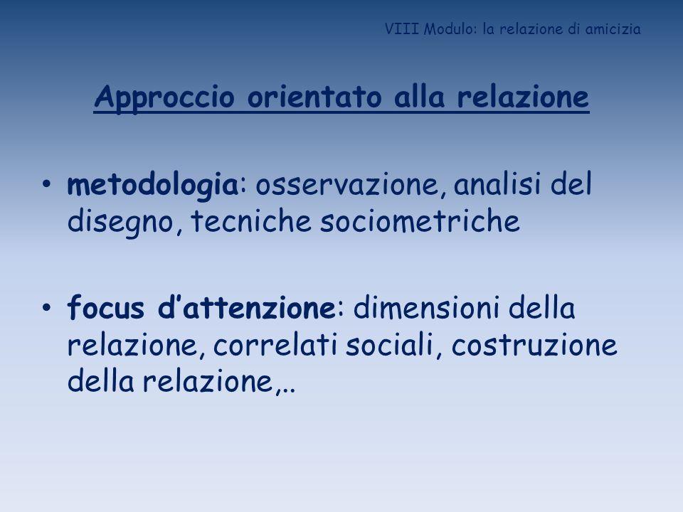 VIII Modulo: la relazione di amicizia Approccio orientato alla relazione metodologia: osservazione, analisi del disegno, tecniche sociometriche focus