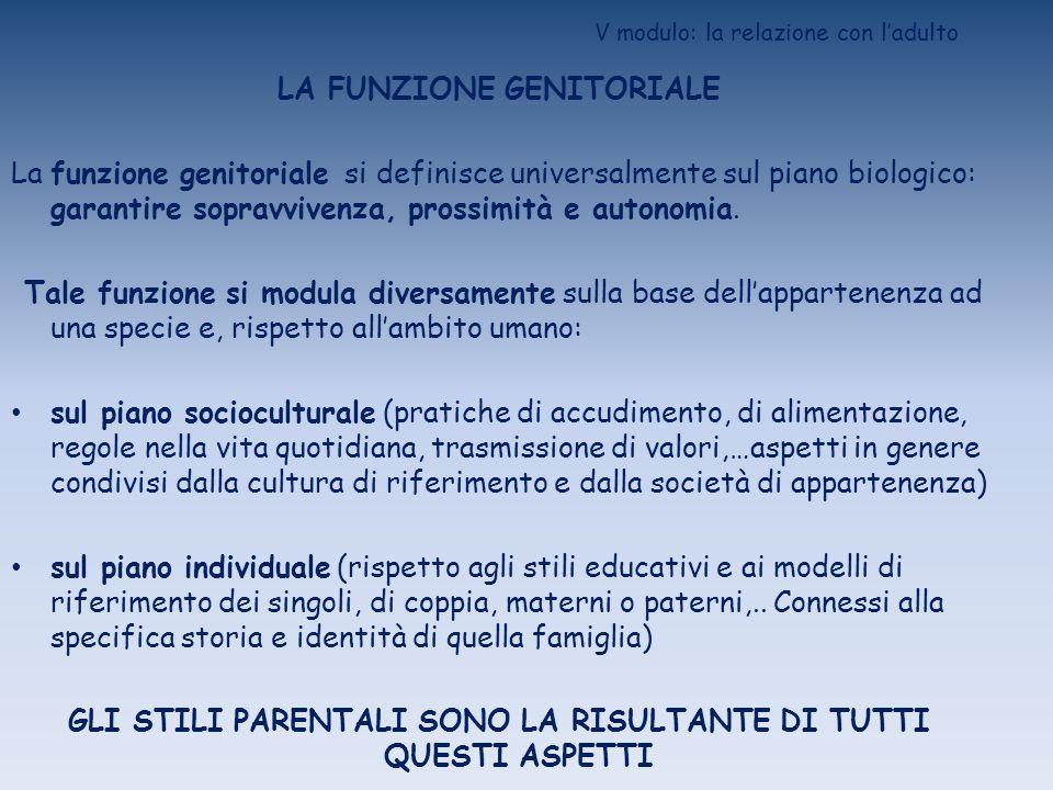 V modulo: la relazione con ladulto LA FUNZIONE GENITORIALE La funzione genitoriale si definisce universalmente sul piano biologico: garantire sopravvi