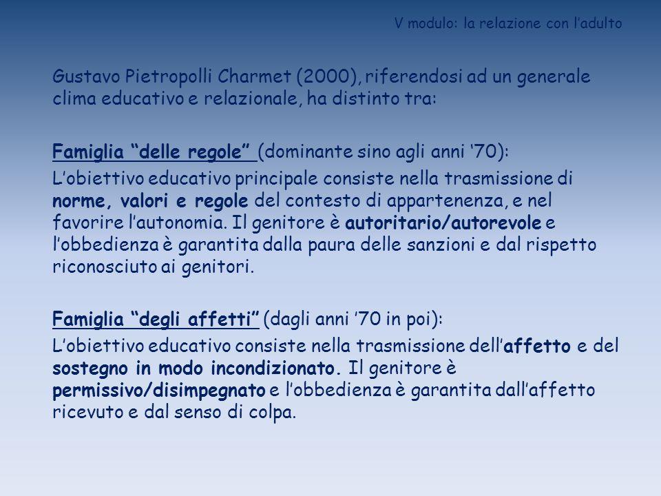 V modulo: la relazione con ladulto Gustavo Pietropolli Charmet (2000), riferendosi ad un generale clima educativo e relazionale, ha distinto tra: Fami