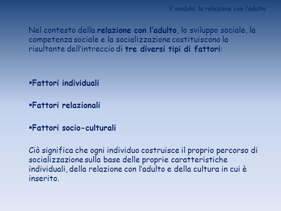 V modulo: la relazione con ladulto FATTORI INDIVIDUALI (1)CARATTERISTICHE INNATE (sia specie-specifiche, sia proprie): Tratti somatici Abilità sociali di base Sistema di segnalazione Competenze emotive di base Temperamento (2) STORIA INDIVIDUALE: Condizione alla nascita Esiti dei processi di socializzazione Eventi intercorrenti