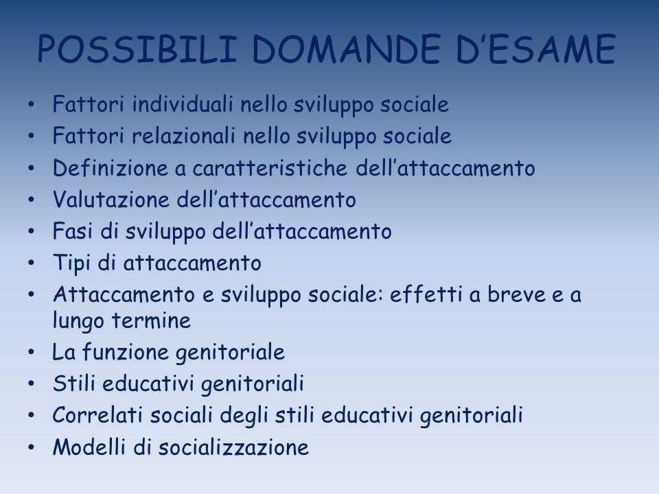 POSSIBILI DOMANDE DESAME Fattori individuali nello sviluppo sociale Fattori relazionali nello sviluppo sociale Definizione a caratteristiche dellattac
