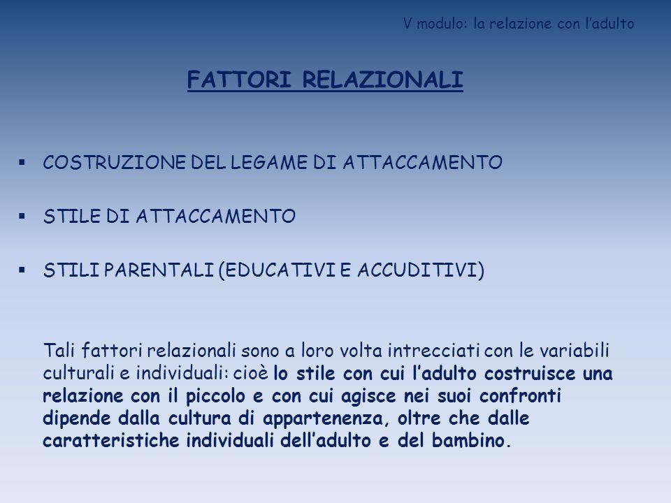 V modulo: la relazione con ladulto FATTORI RELAZIONALI COSTRUZIONE DEL LEGAME DI ATTACCAMENTO STILE DI ATTACCAMENTO STILI PARENTALI (EDUCATIVI E ACCUD