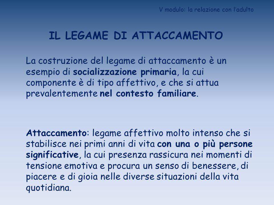 V modulo: la relazione con ladulto IL LEGAME DI ATTACCAMENTO La costruzione del legame di attaccamento è un esempio di socializzazione primaria, la cu