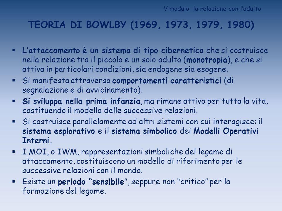 V modulo: la relazione con ladulto TEORIA DI BOWLBY (1969, 1973, 1979, 1980) Lattaccamento è un sistema di tipo cibernetico che si costruisce nella re