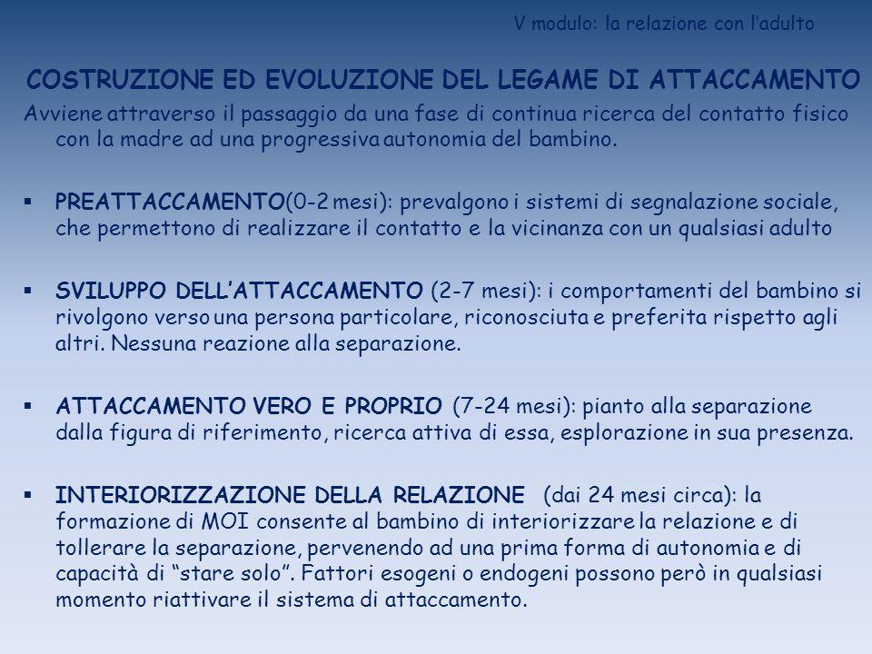 V modulo: la relazione con ladulto VALUTAZIONE DELLATTACCAMENTO STRANGE SITUATION (Ainsworth et al., 1978) Procedura standardizzata di laboratorio, costituita da 8 episodi osservativi che prevedono, secondo combinazioni diverse, la presenza/assenza della madre e di un estraneo.