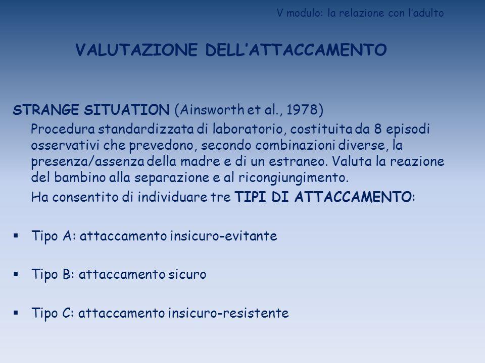 V modulo: la relazione con ladulto VALUTAZIONE DELLATTACCAMENTO ATTACHMENT Q-SORT (Waters e Deane, 1985; Cassibba e DOdorico, 2000) Procedura descrittiva/osservativa che si basa sullutilizzo di 90 cartoncini (descrittori di comportamenti).
