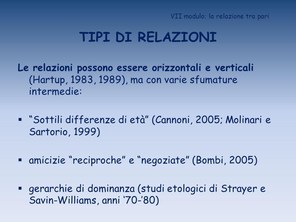 VII modulo: la relazione tra pari TIPI DI RELAZIONI Le relazioni possono essere orizzontali e verticali (Hartup, 1983, 1989), ma con varie sfumature i