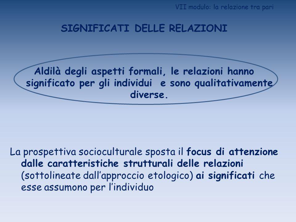 VII modulo: la relazione tra pari SIGNIFICATI DELLE RELAZIONI Aldilà degli aspetti formali, le relazioni hanno significato per gli individui e sono qu