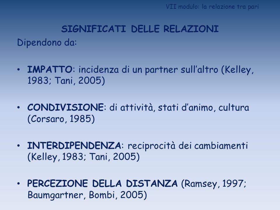 VII modulo: la relazione tra pari SIGNIFICATI DELLE RELAZIONI Dipendono da: IMPATTO: incidenza di un partner sullaltro (Kelley, 1983; Tani, 2005) COND