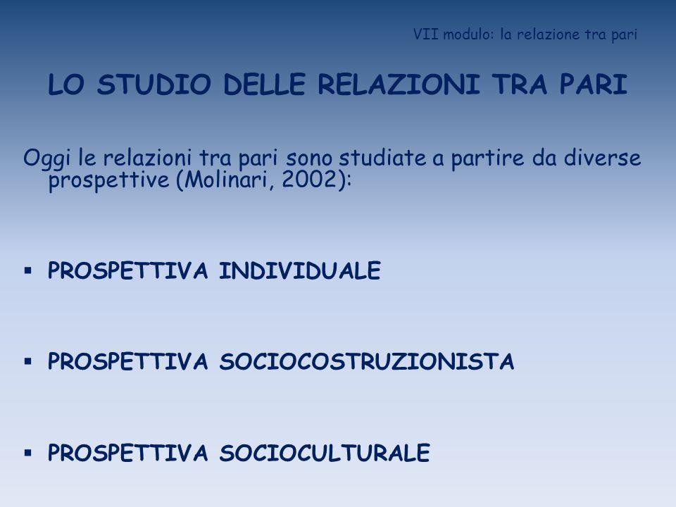 VII modulo: la relazione tra pari LO STUDIO DELLE RELAZIONI TRA PARI Oggi le relazioni tra pari sono studiate a partire da diverse prospettive (Molina